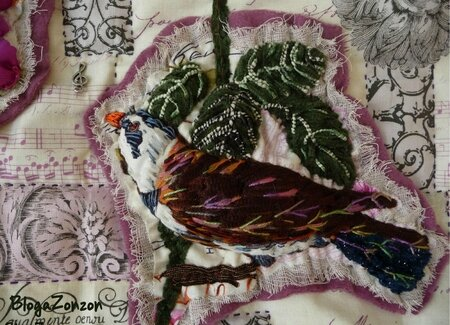 bird ribbon embroidery