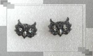 Boucles d'Oreilles Style Vintage Chouette_Hibou Métal Argentéé Vieilli Strass