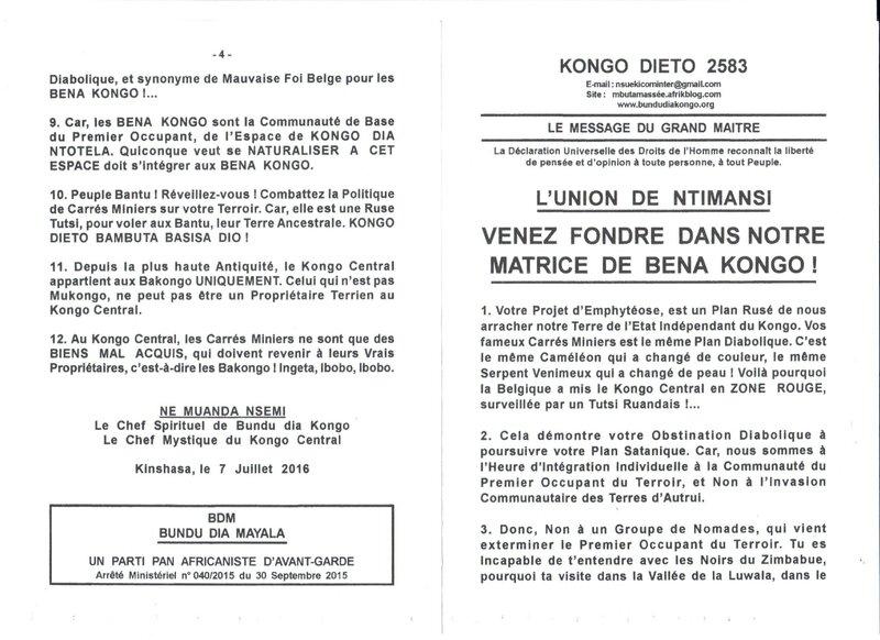 VENEZ FONDRE DANS NOTRE MATRICE DE BENA KONGO a