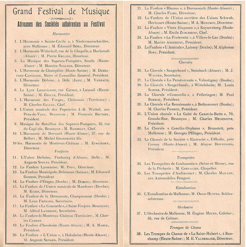 Belfort Festival musique 17 août 1913 Adresse Sociétés R
