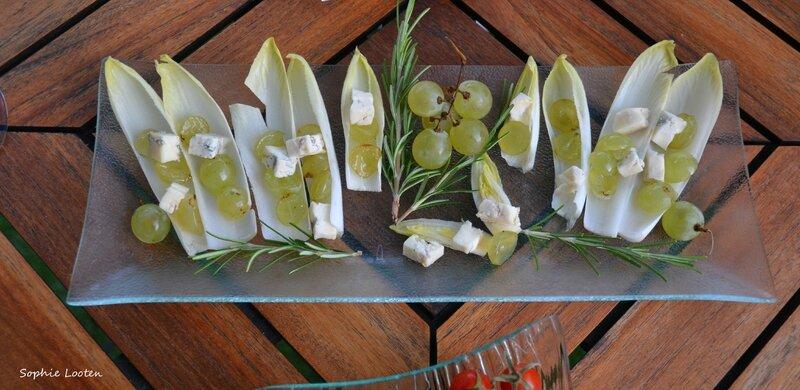 Bouchées raisin gorgonzola