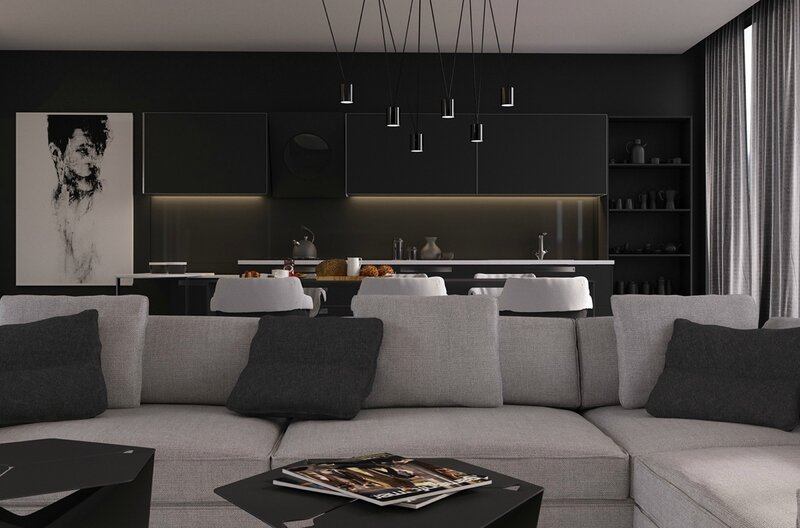 black-pendant-lights-over-dining-table