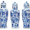 A set of three large blue and white vases and covers, kangxi period (1662-1722)