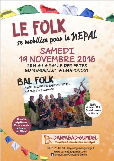 - Bal Folk à Chaponost 19.11.2016 à 20 h en soutien au Népal.