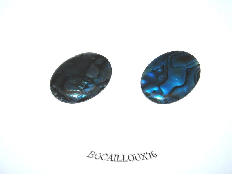 CABOCHON 15x20 NACRE PAWA 7 - LOT DE 2 - POUR CREATION