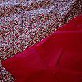 Plaid-Edredon en Liberty d'anjo rouge, dos coton rouge, passepoil rouge herme, 100x150 cm (4)