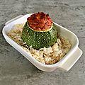 Courgette farcie et riz