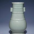 A fine and very rare ru-type glazed vase, fanghu, Qianlong six-character seal mark in underglaze blue and of the period (1736-1795)