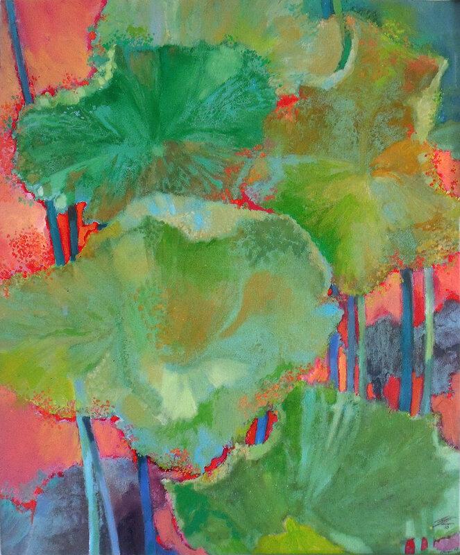 400€-2017-Lotus verts-huile, 65x54cm