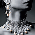 A world exclusive natural pearl and diamond choker necklace & a magnificent pair of natural pearl and diamond ear pendants