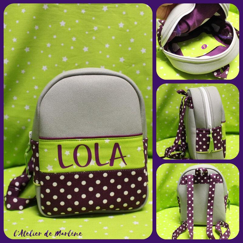 sac a dos enfant bébé personnalisé Lola
