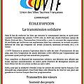 Uvtf - école d'aficion - transmission solidaire