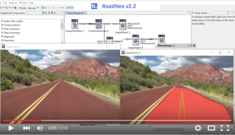 NEXYAD Adas Road detection on a red road with RoadNex