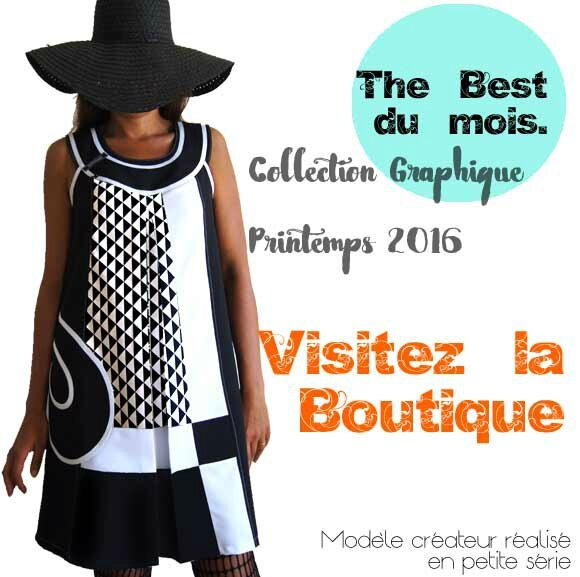 Robe-Vetements-Créateur-made-in-france-chic-mode-graphique-bicolore-noir-blanc-robe