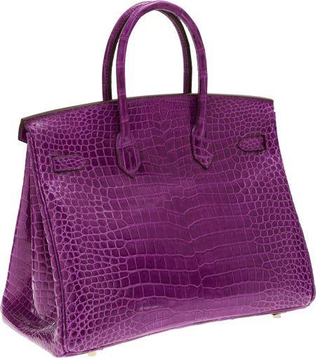 c005dd705b Hermes Extremely Rare 35cm Shiny Violet Porosus Crocodile Birkin Bag with  Gold Hardware. Pristine Condition  14