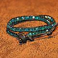 Bracelet wrap style chan luu aquamarine
