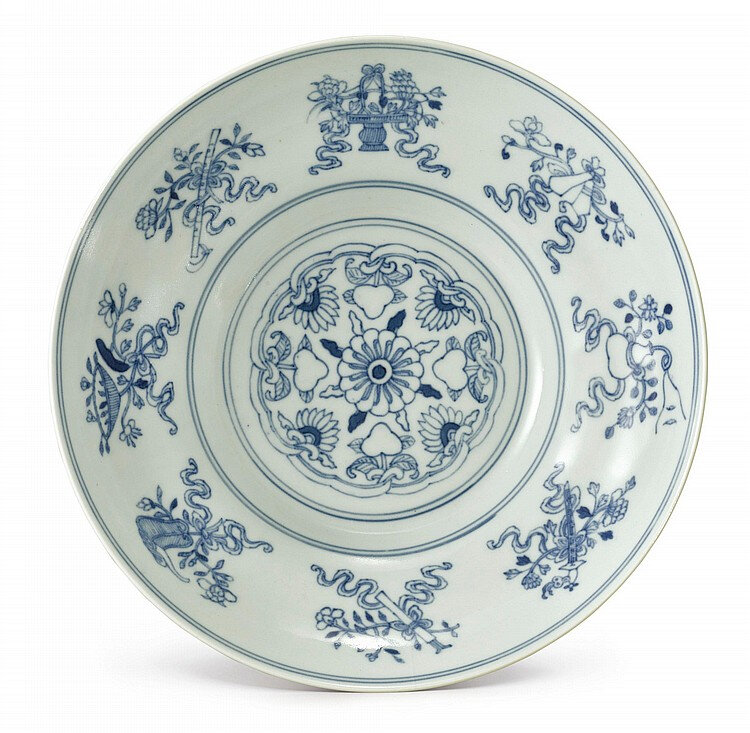A blue and white 'Daoist emblems' bowl, Daoguang seal mark and period (1821-1850)