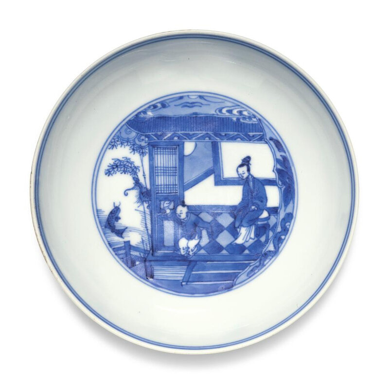 A blue and white saucer, Yongzheng mark and period (1723-1735)