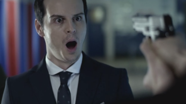 Andrew Scott as Jim Moriarty on Sherlock The Great Game 2