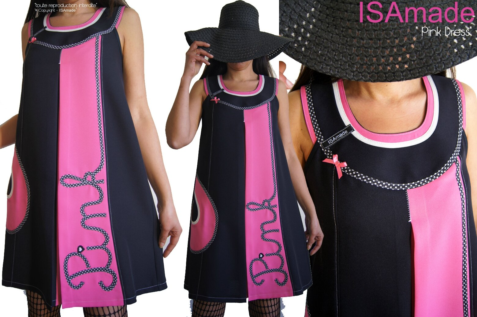 MOD 389A Robe Rose Noir Trapèze à pois bicolore tunique Graphique sixties made in France tendance 2016