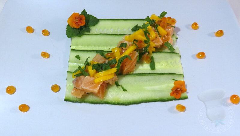 Tartare saumon mangue concombre