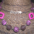 Collier chocolat fushia n° 3 carré acrylique rose (N)
