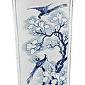 A blue and white quadrangular 'four seasons' vase, qing dynasty, kangxi period (1662-1722)