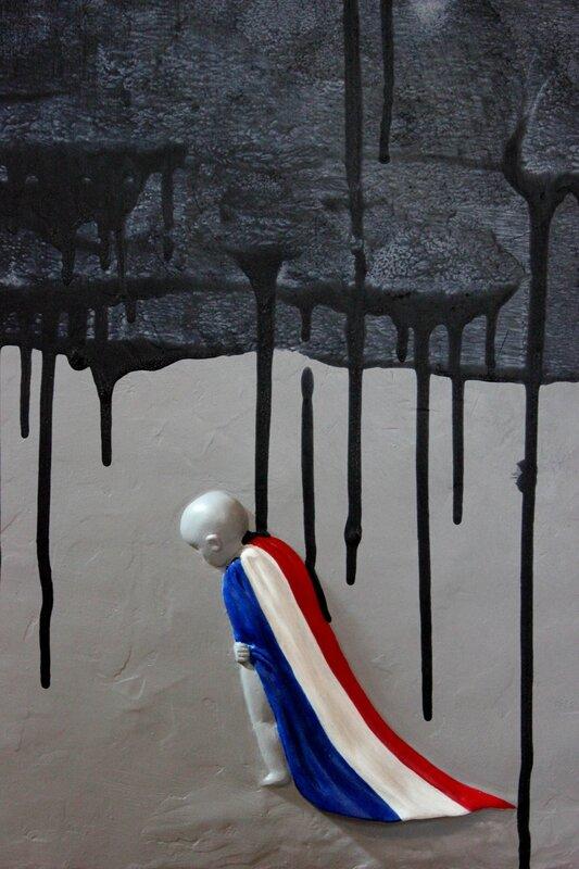 """""""7 janvier 2015"""". Bas-relief terre sur bois peinture acrylique 90cm x60cm"""