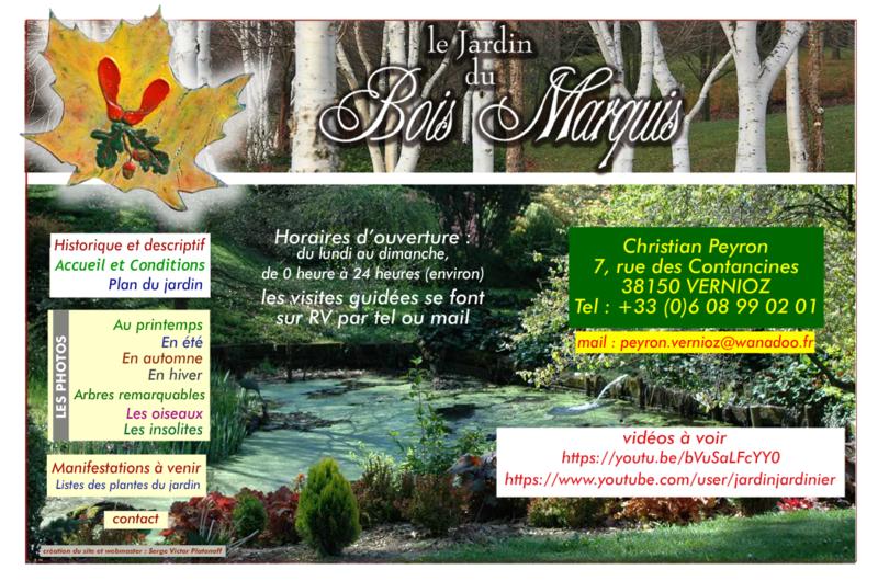 LE JARDIN DU BOIS MARQUIS - SITE DE CHRISTIAN PEYRON - VERNIOZ (ISERE)