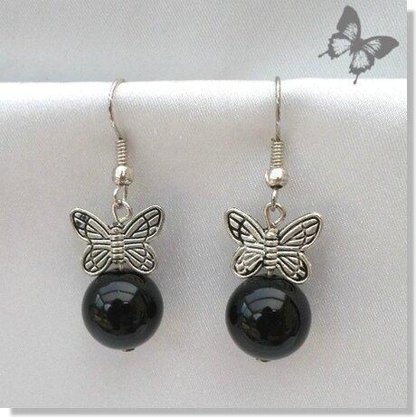 Boucles d'Oreilles Papillon Mina Perle Jade Noir 12 mm Argent du Tibet