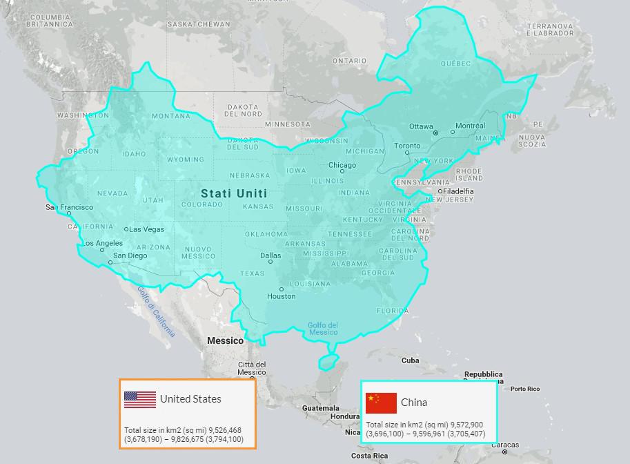 China overlaid on USA at the same latitude