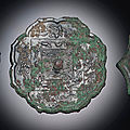 Three bronze octafoil mirrors, Tang dynasty (618-907)