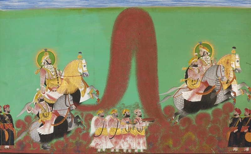 Maharana Shambhu Singh of Mewar playing Holi