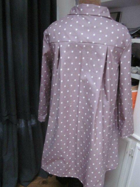 Ciré AGLAE en coton enduit beige rosé parsemé de petites étoiles blanches, fermé par un noeud (7)