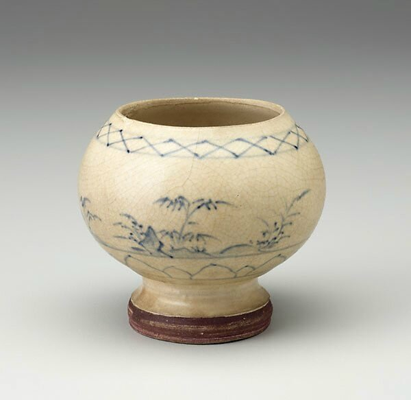 Stem bowl with landscape scene, Vietnam, late 14th century-15th century, stoneware with underglaze blue decoration, 8