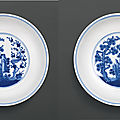 A fine pair of blue and white 'three friends' dishes, seal marks and period of qianlong (1736-1795)