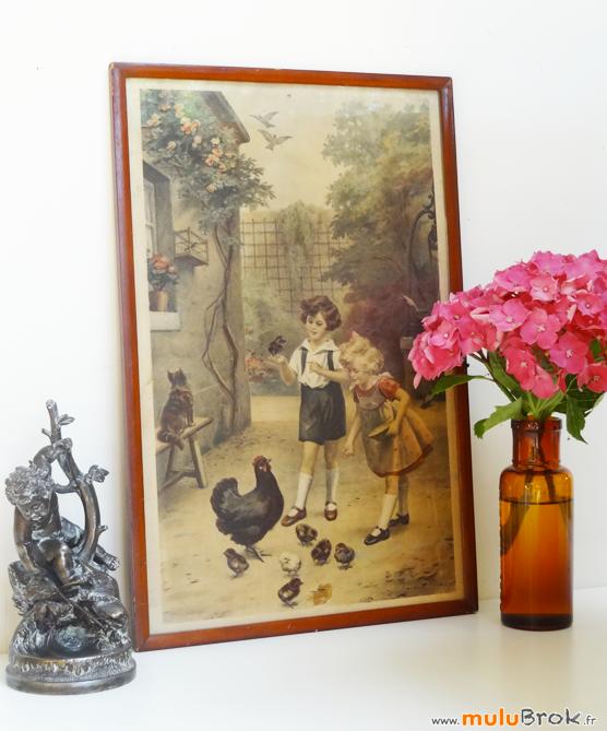 Gravure-LIONEL-PERAUX-Scène-Enfants-Poules-4-muluBrok-Brocante-Vintage