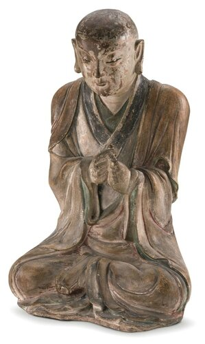 A Rare Painted Pottery Figure of a Seated Luohan, Southern Song Dynasty