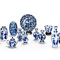 A group of twelve blue and white porcelains, qing dynasty, 18th century