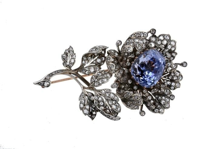 A 19th century sapphire and diamond flower brooch, circa 1870