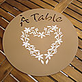 set de table pochoir coeur