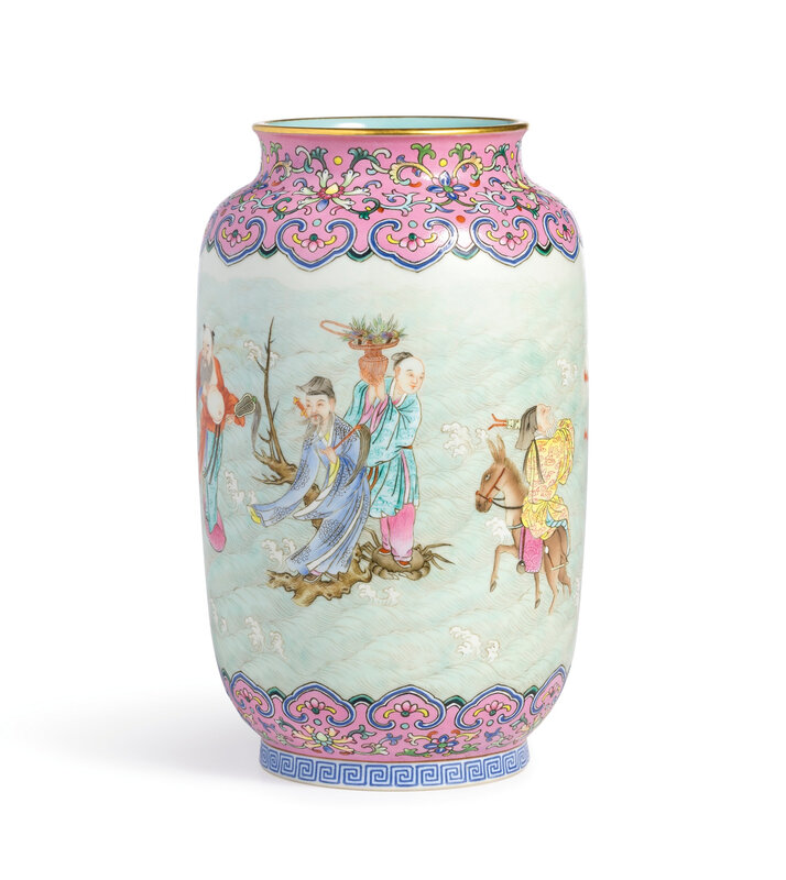 A fine pink-ground famille-rose 'Eight Daoist Immortals' jar, seal mark and period of Qianlong (1736-1795)