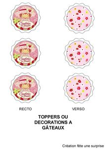 toppers ronds charlotte aux fraises