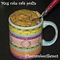Mug cake café pralin