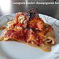 Lasagnes poulet champignons boursault
