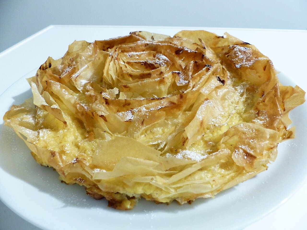 Tarte froufrou (Galatopita ou ruffled milk pie)