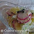 Salade de pommes de terre aux radis et concombre
