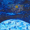 Artjournal et gribouillages #116~ thème espace et cosmos (galaxie, étoiles, planètes ...)