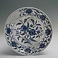 Blue-and-white plate with the design of double peaches, Yongle period (1403-1424)