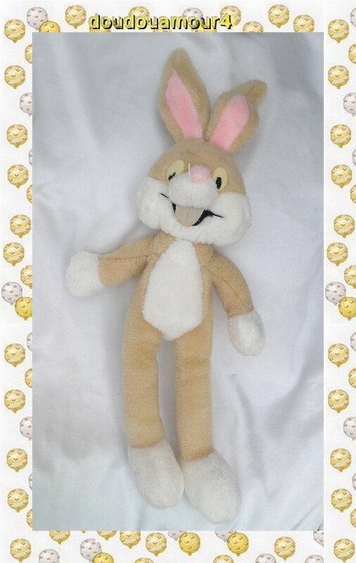 Doudou Peluche Lapin Bugs Bunny Marron Et Blanc Vintage